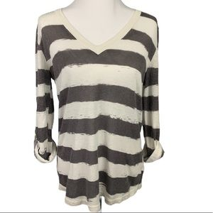 GAP Made With Linen Striped Top Small Grey & White